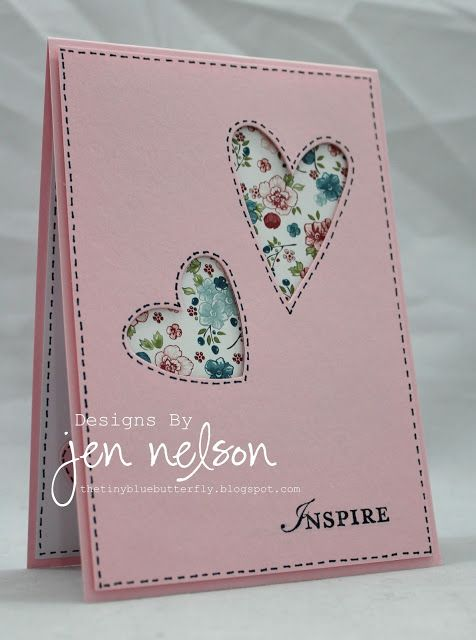 handmade card ... pink ... two negative space hearts ... sweet chintz print paper in the background ...sweet faux sewing lines around the hearts and perimeter of the card ...