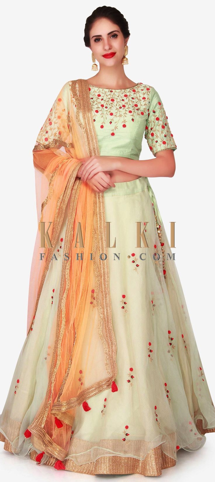 Buy Online from the link below. We ship worldwide (Free Shipping over US$100)  Click Anywhere to Tag Mint green lehenga in tissue enhanced in frenchknot and zardosi embroidery work only on Kalki Look absolutely gorgeous in this mint green lehenga that is straight out of fairy tale. The lehenga is featured in tissue fabric and embellished in elegant looking french knots and zardosi embroidery work. The ready stitched blouse is featured in raw silk and is sewn to standard of perfection. It is…
