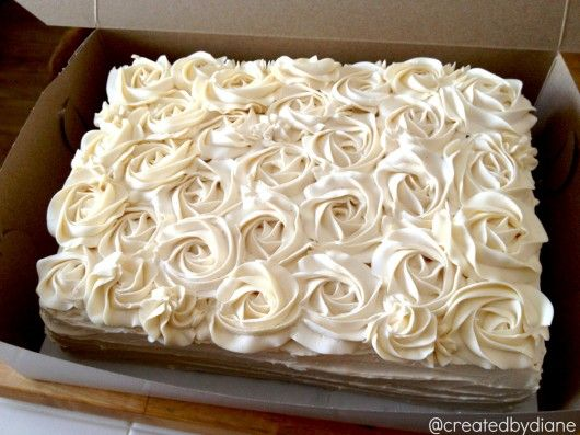 How to decorate a Rose Cake @createdbydiane..vanilla wedding cake w/pastry cream filling and vanilla italian buttercream