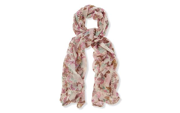 "Butterfly Print Scarf. ""Dreamy butterflies adorn this pretty printed scarf."""