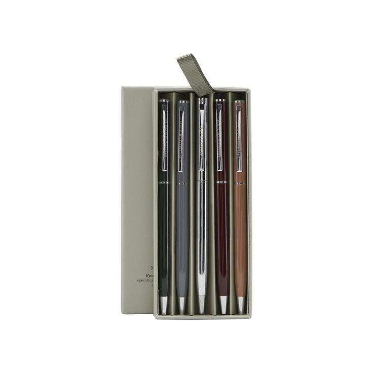 5 penner fra Monograph. Et sett med 5 vakre blekkpenner som kommer i forskjellige farger; Svart, grå...