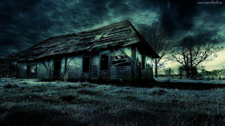 Opuszczony, Dom, Ruina, Drzewa, Chmury, Burzowe