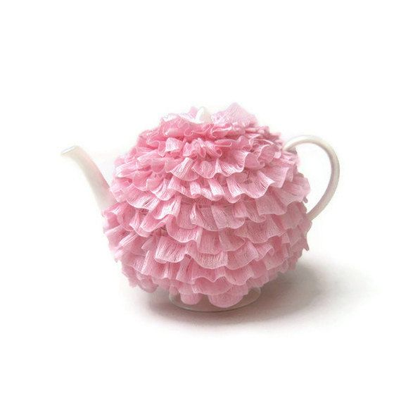 Knit tea cozy pink frilly teapot cosy flower petal ruffle knitted cosies tutu ballerina tea cosy in baby pink.