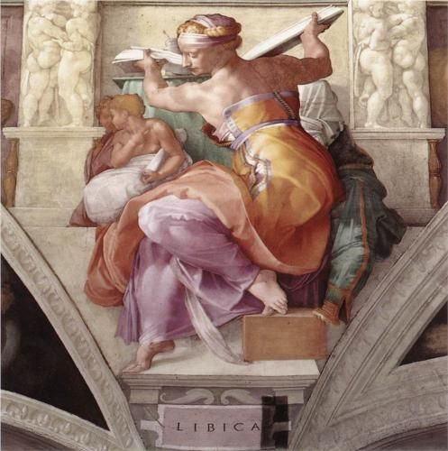 """Sistine Chapel Ceiling: Libyan Sibyl - Michelangelo """"I saw the Angel in the marble and carved until I set him free""""-Michelangelo"""