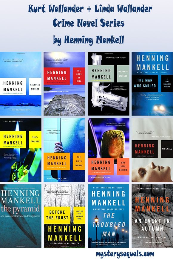 Henning Mankell books with the Kurt Wallander crime series >>> Book covers that speak more to the atmosphere of the story than tying directly to any element within. I also like that there's a branding of the author's name within the unity of design.