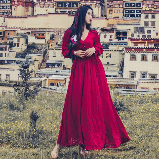 2017 lente zomer vintage katoen en linnen dress vrouw v kraag folk stijl lange mouw lange dress bohemen dress