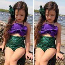 2016 gros filles belle queue de sirène Swimmable de natation princesse Costume enfants maillot de bain deux pièces(China (Mainland))