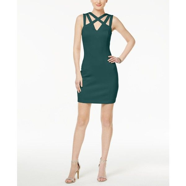 Guess Strappy Sheath Dress ($98) ❤ liked on Polyvore featuring dresses, emerald, white going out dresses, guess dresses, white night out dresses, white sheath dresses and emerald party dress