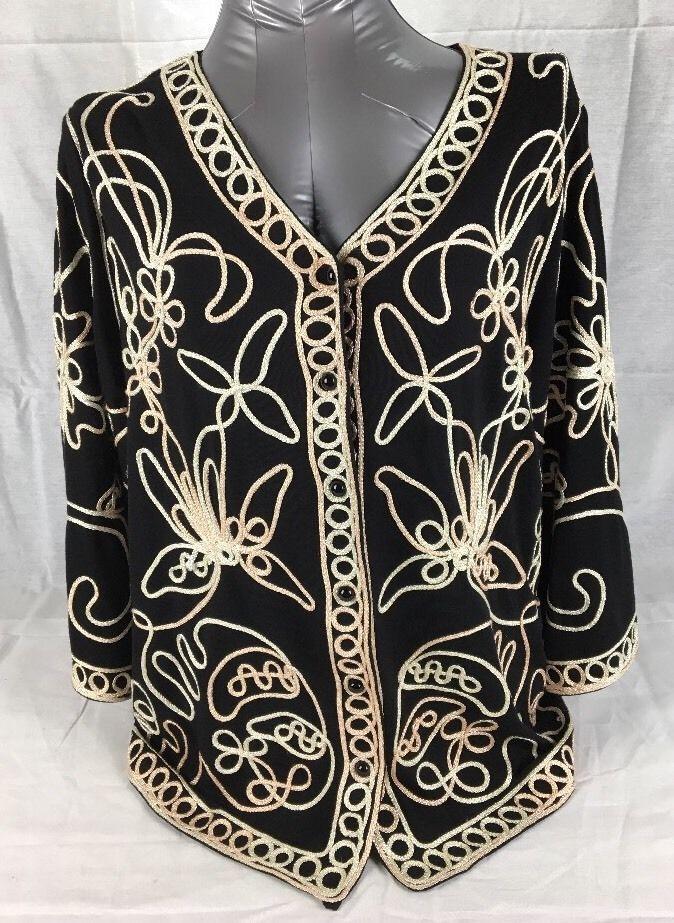 New woman's Evening Wear, Party, fancy black Ornate Blouse shirt, Size 1x (r2ba)   eBay