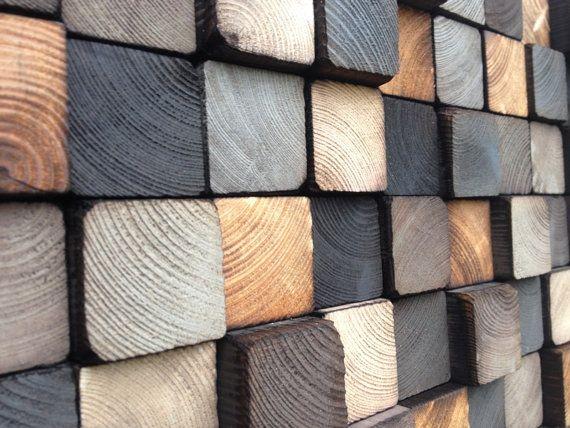 Mosaïque en blocs de bois récupérés. Chacun a été découpé et peint à la main, la mosaïque est donc unique et ne jamais vous avoir une copie identique. Blocs en bois ont été peintes en 3 nuances de gris froid, 3 teintes de gris chaud, 2 tons de blanc cassé et le bois brûlé naturel.