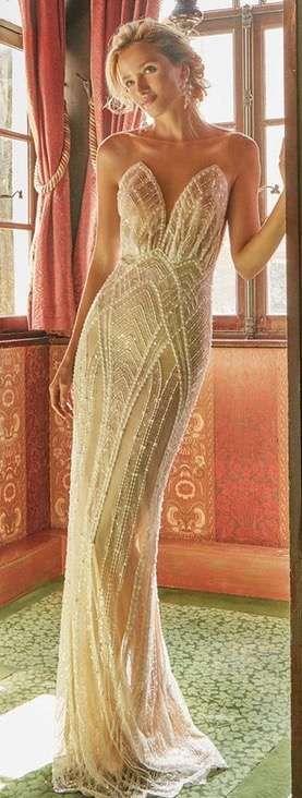 Vestidos de novia estilo art decó: Mejores modelos [FOTOS] - Vestido de novia estilo art decó con semitransparencias