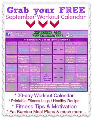 September Fitness Challenge & Free Workout Calendar ! Grab your goodies at www.myfitstation.com/fit-4-september