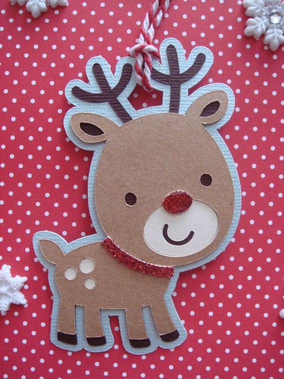 Christmas Gift tags Reindeer gift tag by CraftyClippingsbyPeg