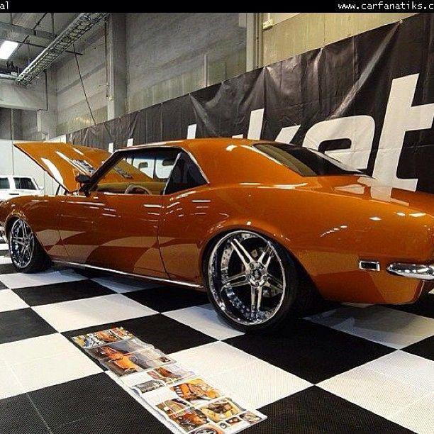 1968 Camaro American muscle tuning kicker pioneer music car audio concave burnt orange split 5 star wheels