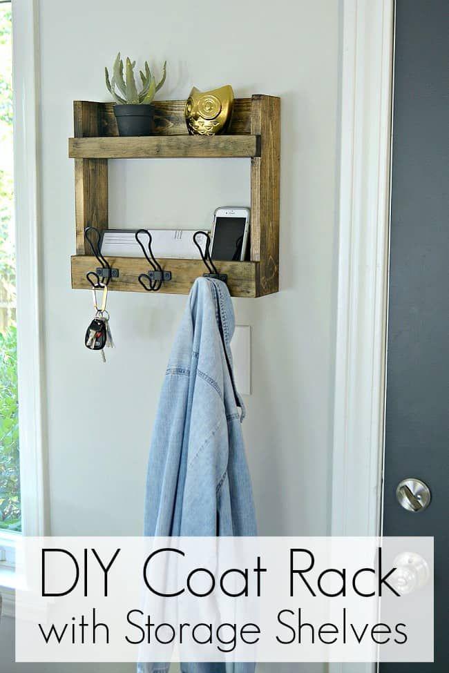 Diy Coat Rack With Storage With Images Diy Coat Rack Diy Coat