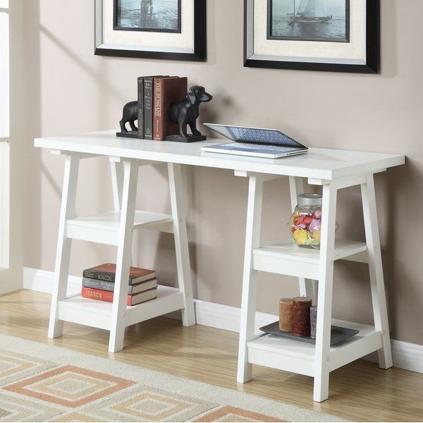 The Georgette Trestle Desk By Zipcode Design Has A Variety Of Key Features With Four Fixed Shelves That Provide P Trestle Desk Convenience Concepts Furniture