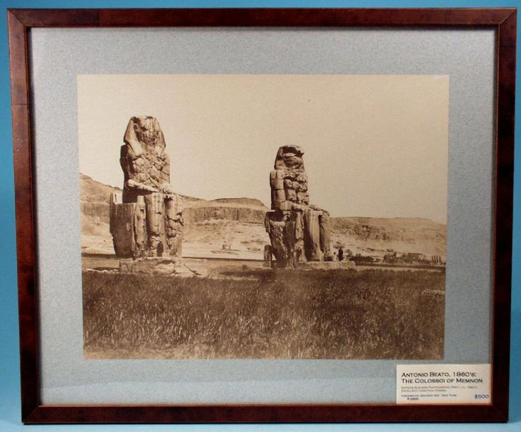 An original antique albumen photographic print of the so-called Colossoi of Memnon at Thebes, Egypt taken by the pioneering photographer, Antonio Beato.