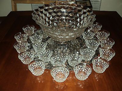 VERY NICE FOSTORIA AMERICAN PUNCH BOWL SET GLASS 28 CUPS AND BASE 14""