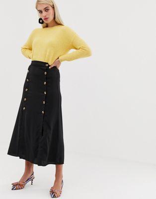 046c5e42ed Vero Moda double split button front midaxi skirt in black   Clothes ...