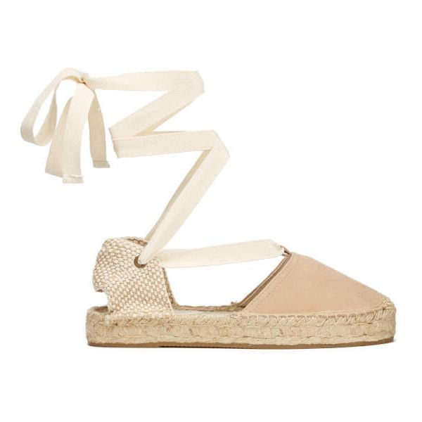 Soludos Women's Gladiator Suede Espadrille Sandals - Cream ($100) ❤ liked on Polyvore featuring shoes, sandals, nude, espadrille sandals, braided sandals, gladiator sandals shoes, platform espadrille sandals and wrap around ankle sandals