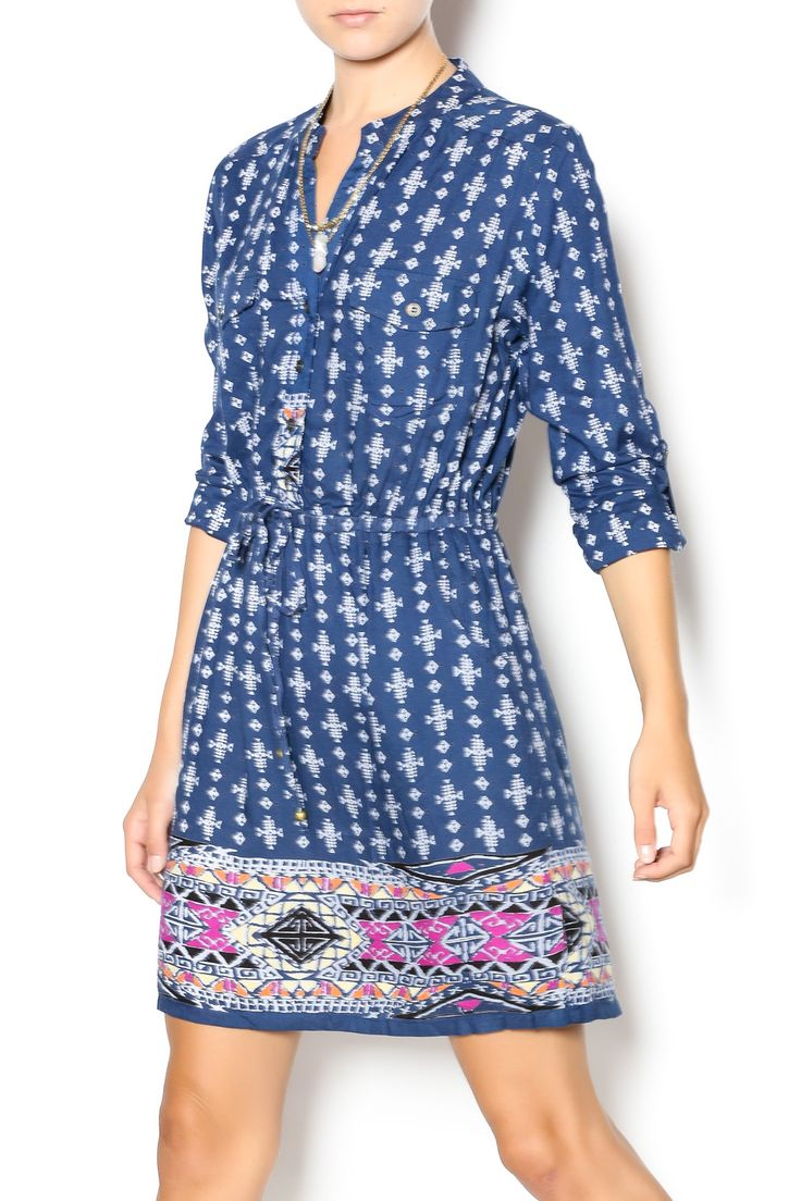 Bohemian tribal printed shirt dress with button front roll cuff sleeves, tie waist with pocket shirt detail. The best part is that it has real pockets at the waist. Wear with your favorite pair of flats and you're ready for your first day of school.   Tribal Print Dress by Angie. Clothing - Dresses - Casual Clothing - Dresses - Printed Philadelphia, Pennsylvania