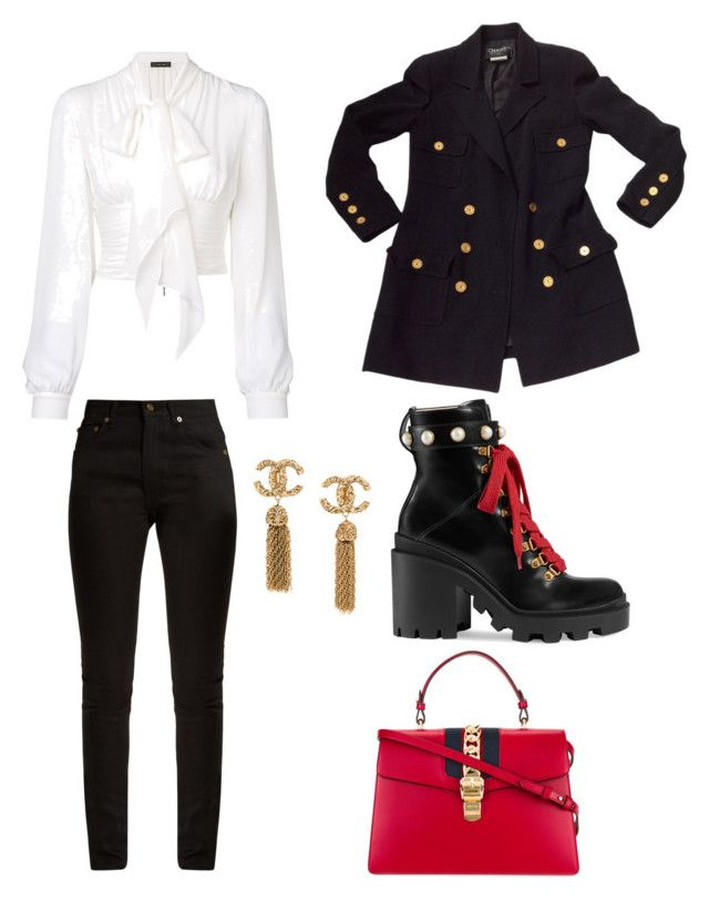"""""""Untitled #152"""" by denisapurple on Polyvore featuring Gucci, Yves Saint Laurent, Plein Sud and Chanel"""