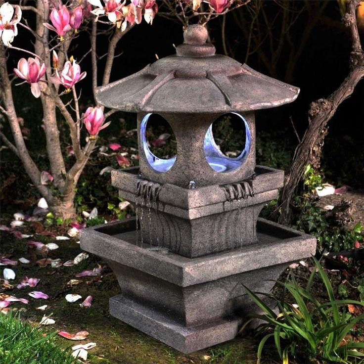 Zen lighted outdoor garden water fountain outdoor garden for Japanese garden decor