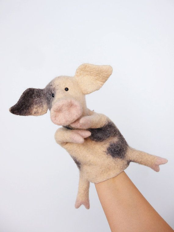 the piglet hand puppet wet felted by bibabo on Etsy, €60.00