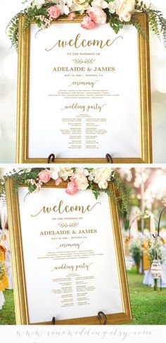 gold wedding program sign wedding ceremony sign printable program
