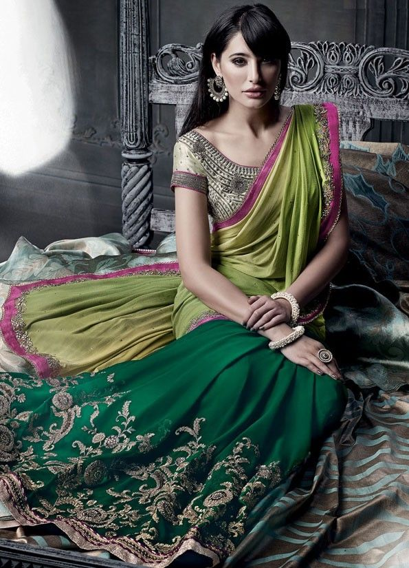 Beautiful Bottle Green and Lime Green Saree
