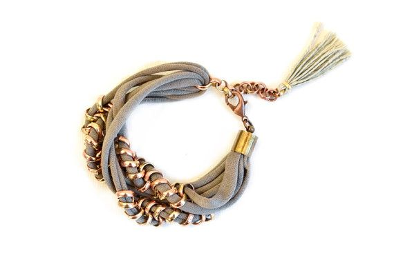 Hey, I found this really awesome Etsy listing at https://www.etsy.com/ru/listing/176432518/light-brown-fabric-bracelet-woven-chain