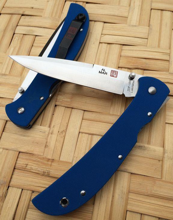 "Al Mar 5HDBLT-ZL Eagle HD ""Heavy Duty"" - Blue G-10 Scales - Plain Edge Talon Blade - CUTLERY SHOPPE EXCLUSIVE"