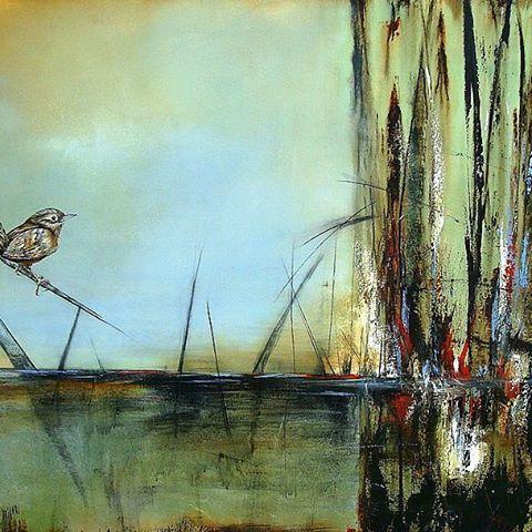 Bird on Branch, 100 x 150 cm mixed media on canvas by Thelma Zambrano