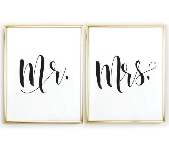 M. et Mme signe de mariage imprimable signent, signe de table de mariage, décoration de la chambre, sticker chambre, cadeau jeunes mariés, signes de mariage, sticker femme