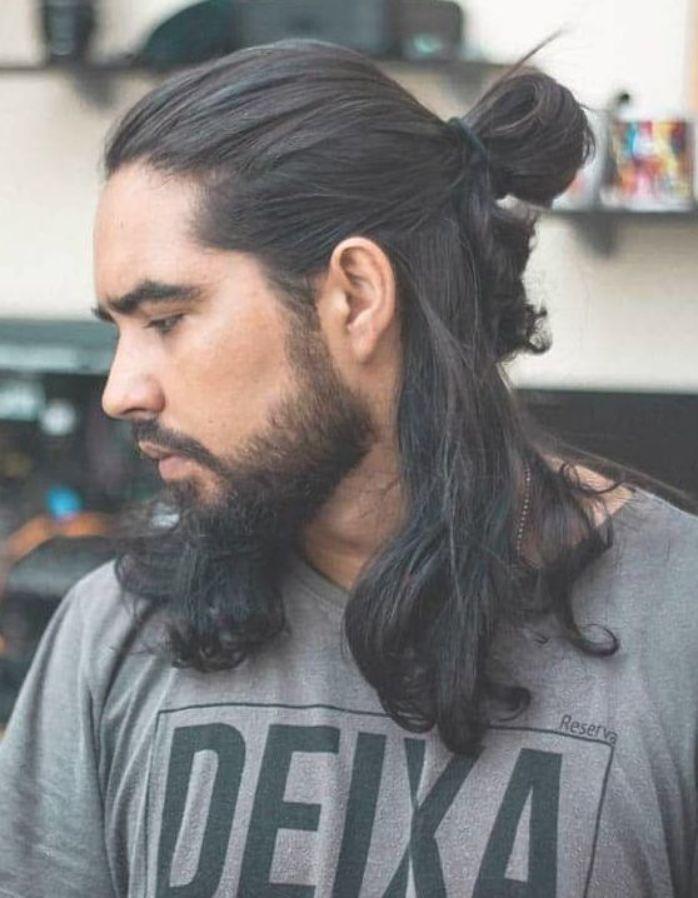 Half Bun And Long Hair Trendy Samurai Hairstyles Long Hair Styles Long Hair Styles Men Hair Styles