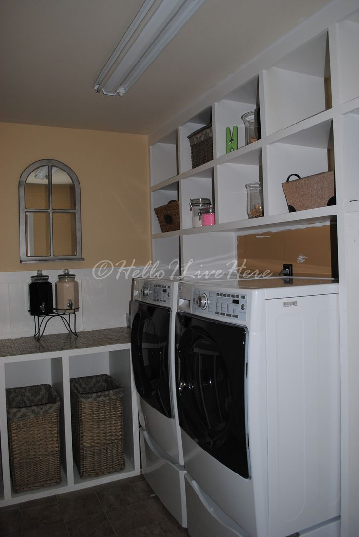 Laundry Room Cabinets designed and built by Linda @ Hello I Live Here