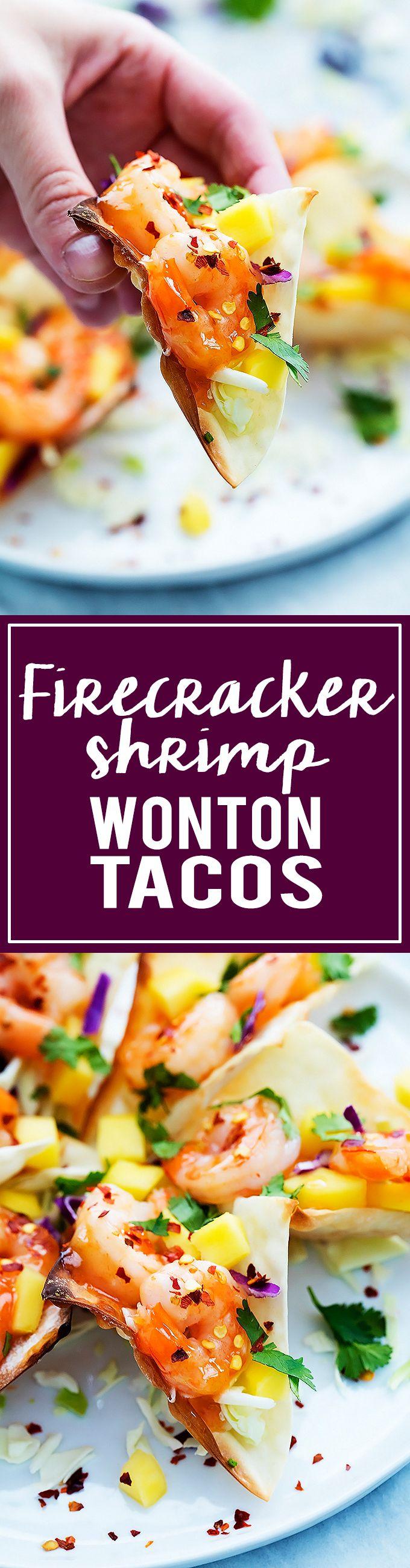 Firecracker Shrimp Wonton Tacos | Creme de la Crumb