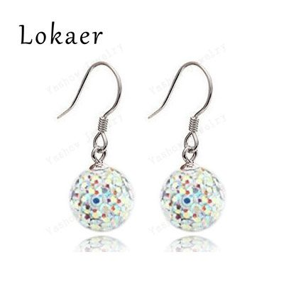 Aliexpress Wholesale 10mm Mix Color Crystal Micro Pave Disco Ball Silver Plated Drop Earring Free Shipping 2Pcs=1Pair