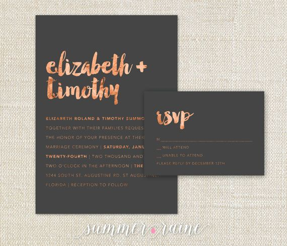 Copper Watercolor Wedding Invitation - 2 Piece SET - copper and grey