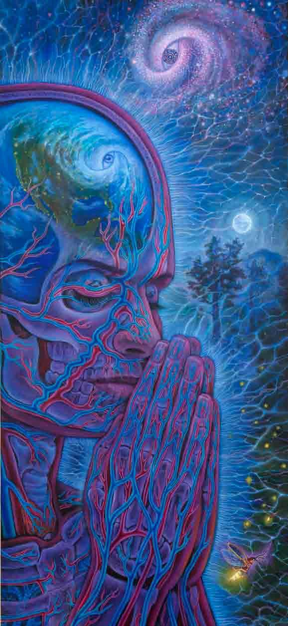 Alex grey by far my favorite artist is can't even explain how much I feel his art it's like everything he dose I am spiritual if that makes sense. I can't even put it into words.
