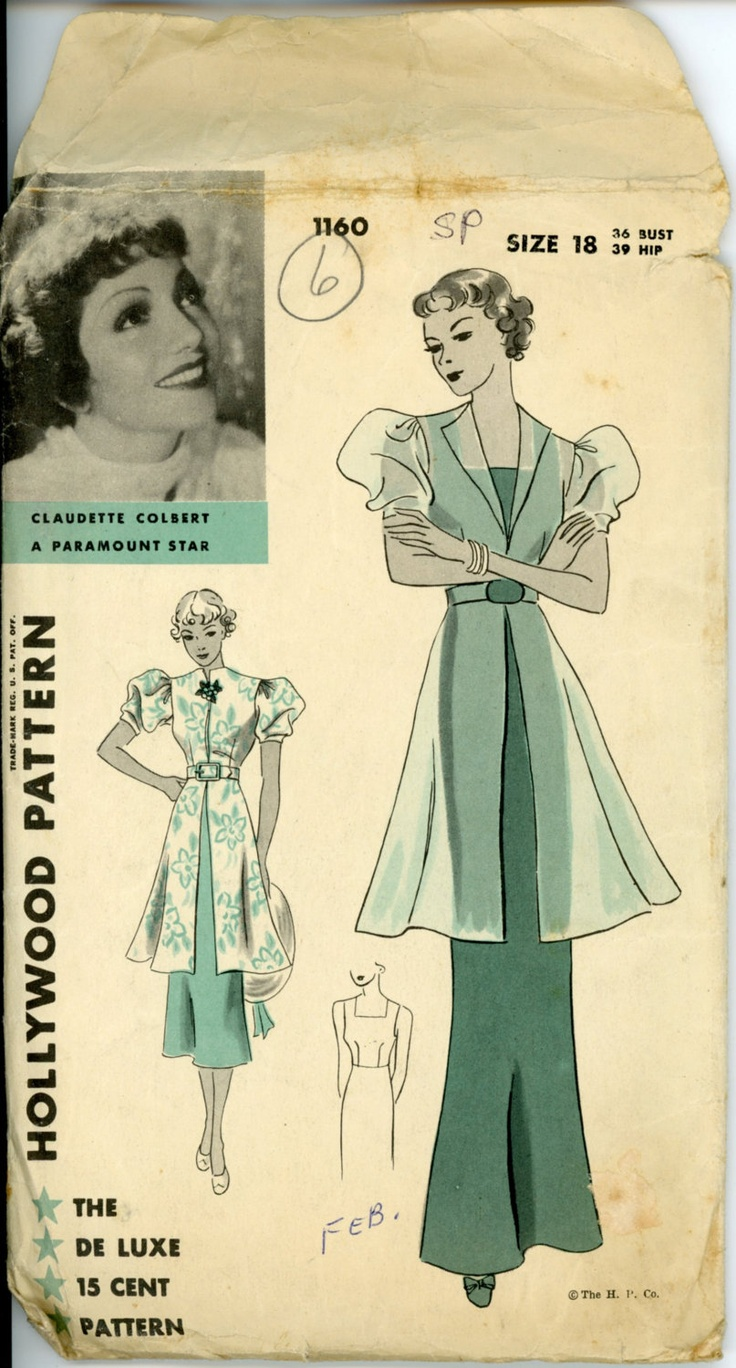 1930s Evening Dress Pattern Hollywood 1160 Claudette Colbert Art Deco Gown & Evening Jacket Bust 36 Womens Vintage Mail Order Sewing Pattern. $145.00, via Etsy.