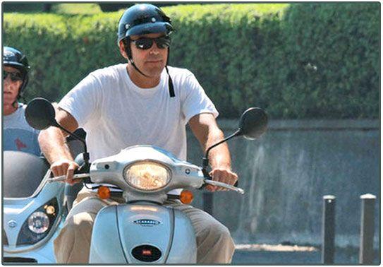 George Clooney on Vespa
