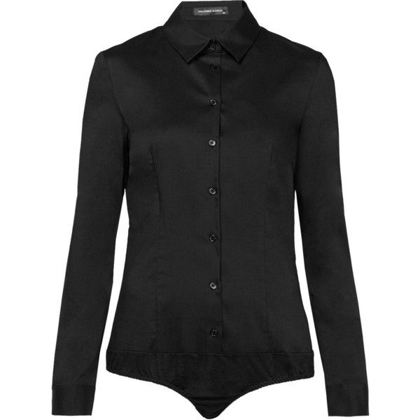 Hallhuber Clarissa Bodysuit Blouse ($56) ❤ liked on Polyvore featuring tops, blouses, black, women, jersey top, cotton jersey, cotton collared shirt, shirt bodysuit and stretch shirt