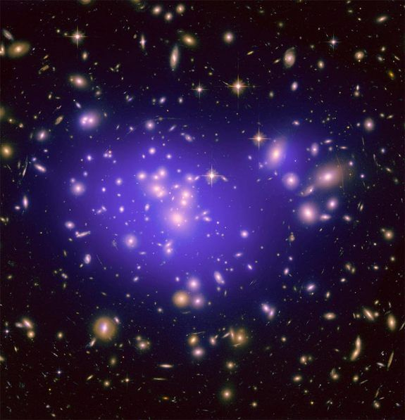Dark Energy Mystery Illuminated By Cosmic Lens. The galaxy cluster Abell 1689 is famous for the way it bends light in a phenomenon called gravitational lensing. A new study of the cluster is revealing secrets about how dark energy shapes the universe. http://www.space.com/20929-dark-energy.html?cmpid=514630
