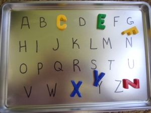 Great idea for letter recognition and matching for a roadtrip or a campout. Kids can match the letters.( identifying similar letters) .ELA-3K- 3.1     ELK-4k-3.12