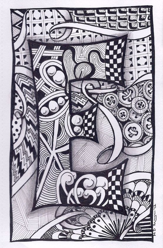Zentangle Letter L Zebra Letters name bunting by ForeverTangles