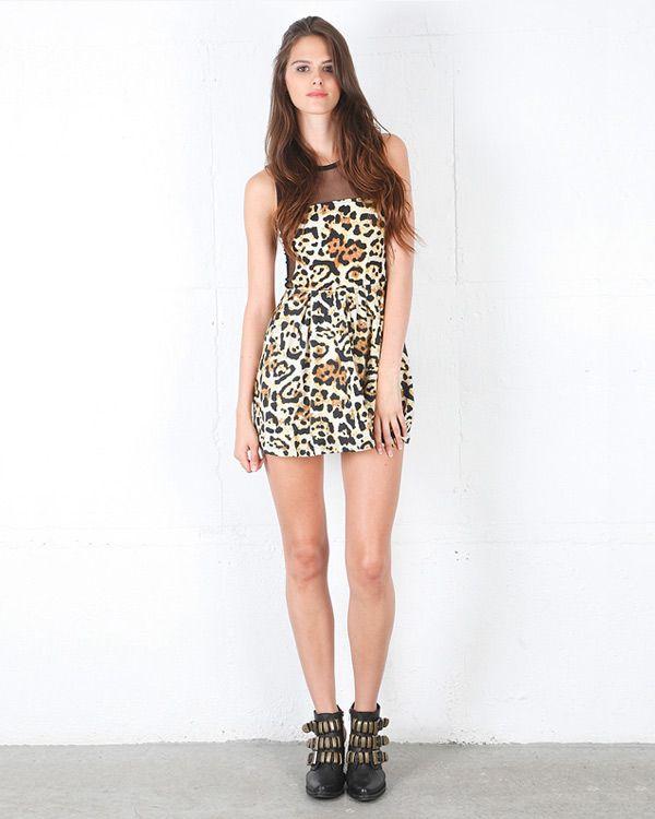 Motel Mandy Dress - Leopard Natural - All Dresses - Clothing - Birdmotel Online Store