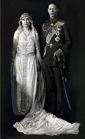 Queen Elizabeth, the Queen Mother on her wedding day in 1923 to King George VI, wearing a dress crafted by Madame Handley Seymour.