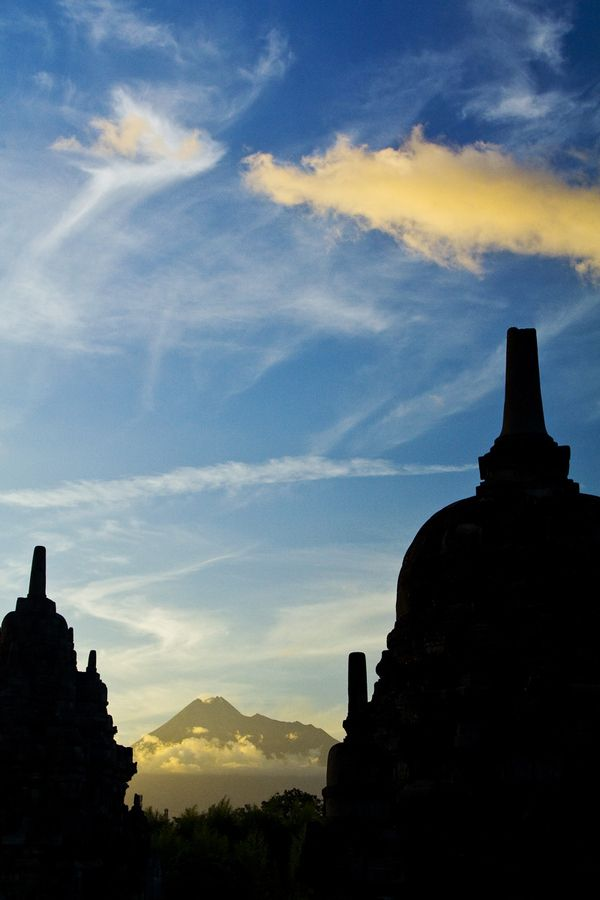 Prambanan Temple with Mt. Merapi as the background, Special District of Yogyakarta, Indonesia