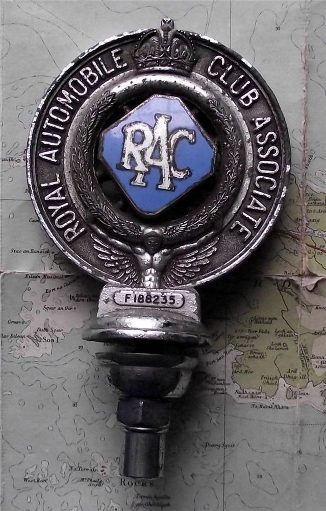 Old Frys Chrome Vintage Car Mascot Badge : Royal Automobile Club Associate RAC